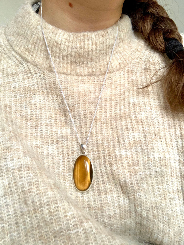 Tiger's Eye Ariel Pendant - Long Oval - Jewels & Gems