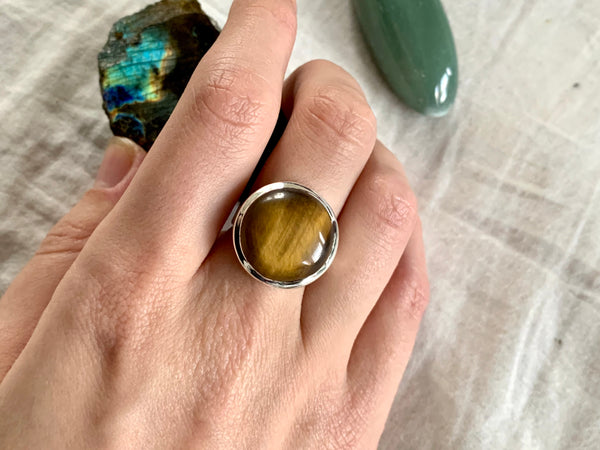 Tiger's Eye Naevia Ring - Medium Round - Jewels & Gems
