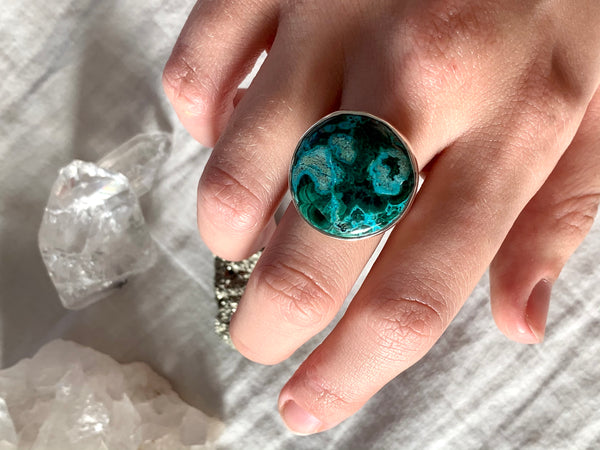 Azurite Malachite Adjustable Ring - Round (One of a kind) - Jewels & Gems