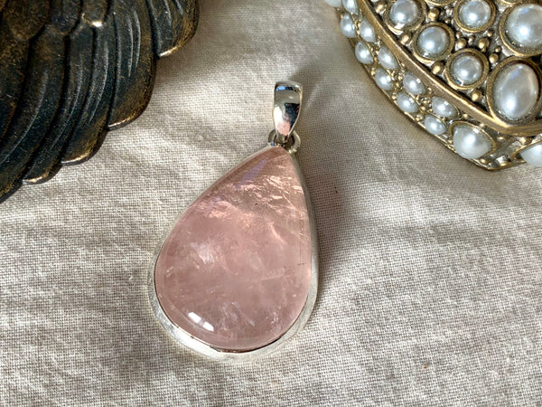 Rose Quartz Ariel Pendant - Medium Teardrop - Jewels & Gems