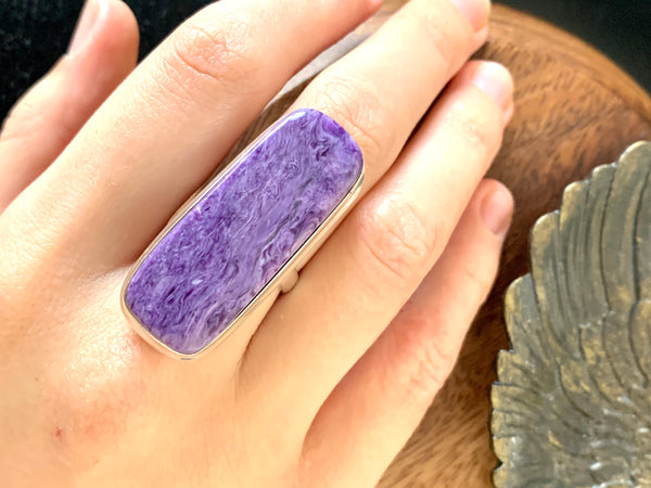 Charoite Ari Ring - XLarge Rectangle (US 7.5) - Jewels & Gems