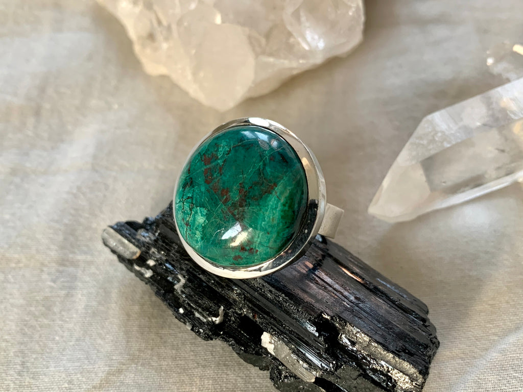 Chrysocolla Naevia Ring - Large Round - Jewels & Gems