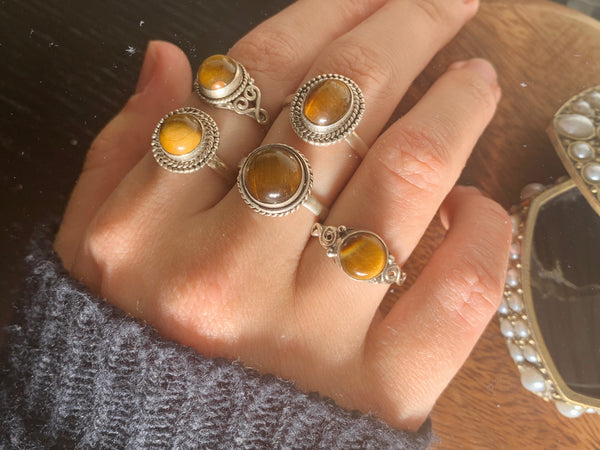 Tiger's Eye Rings Mix - Small Designed - Jewels & Gems