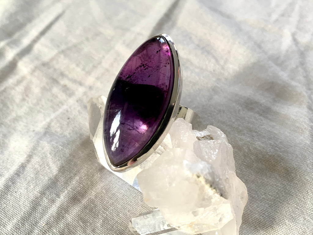 Amethyst Adjustable Akoni Ring - Long Marquise