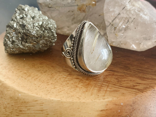Rutilated Quartz Iria Ring (US 8) - Jewels & Gems