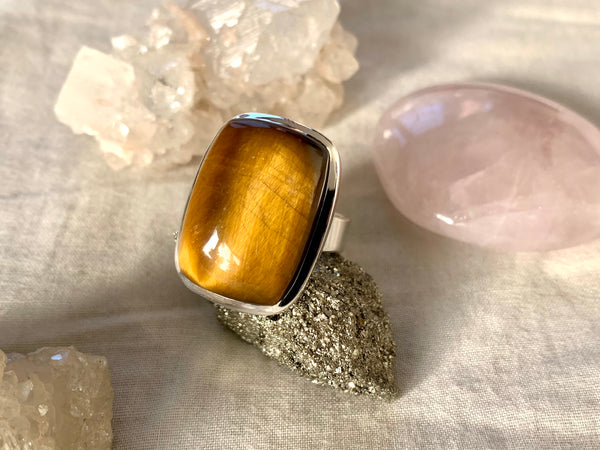 Tiger's Eye Adjustable Ring - Rectangle - Jewels & Gems