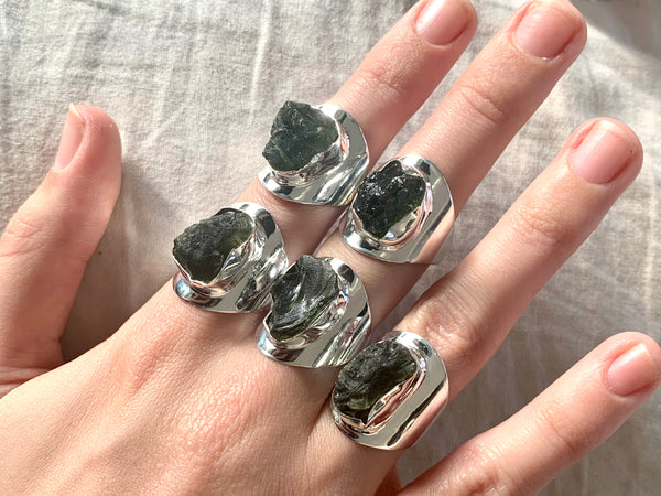 Moldavite Medea Ring - Freeform - Jewels & Gems