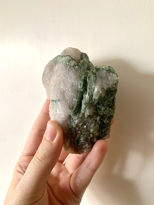 Green Tourmaline with Quartz - Jewels & Gems