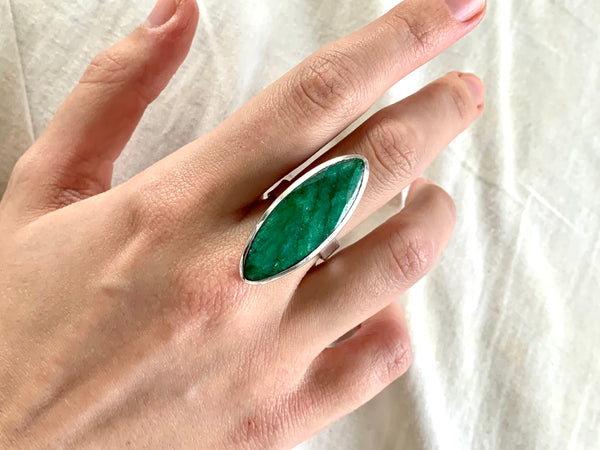 Semi-precious Emerald Adjustable Ring - Long Marquise - Jewels & Gems
