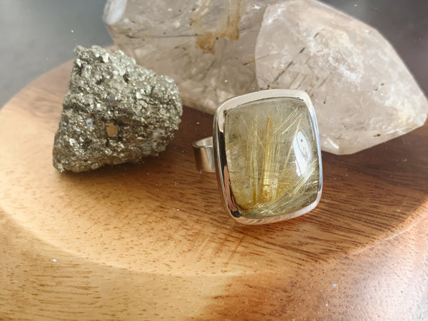Rutilated Quartz Ari Ring - Large Square (US 10) - Jewels & Gems