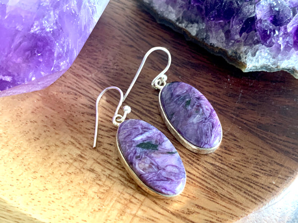 Charoite Akoni Earrings - Oval - Jewels & Gems