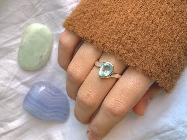 Blue Topaz Efimia Ring - Teardrop - Jewels & Gems