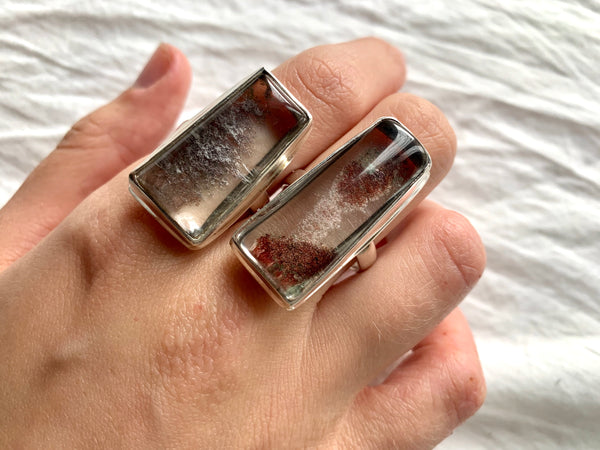 Garden Quartz Rectangle Ari Rings (US 9 & 10) - Jewels & Gems