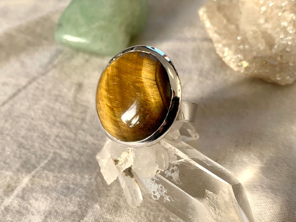 Tiger's Eye Adjustable Ring - Round (One of a kind) - Jewels & Gems