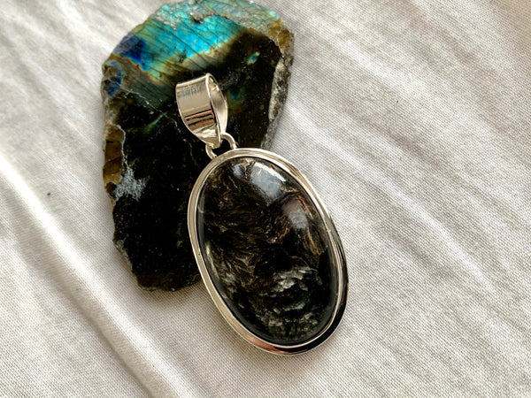 Black Golden Seraphinite Ansley Pendant - Oval - Jewels & Gems