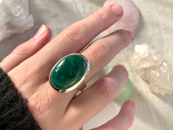 Malachite Adjustable Ring - Oval