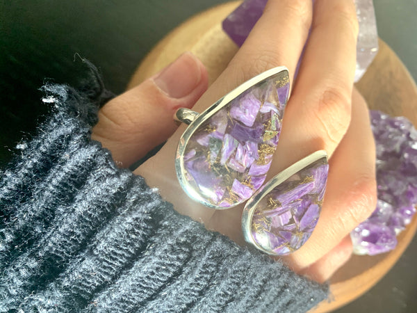 Copper Charoite Akoni Rings - Large Teardrop - Jewels & Gems