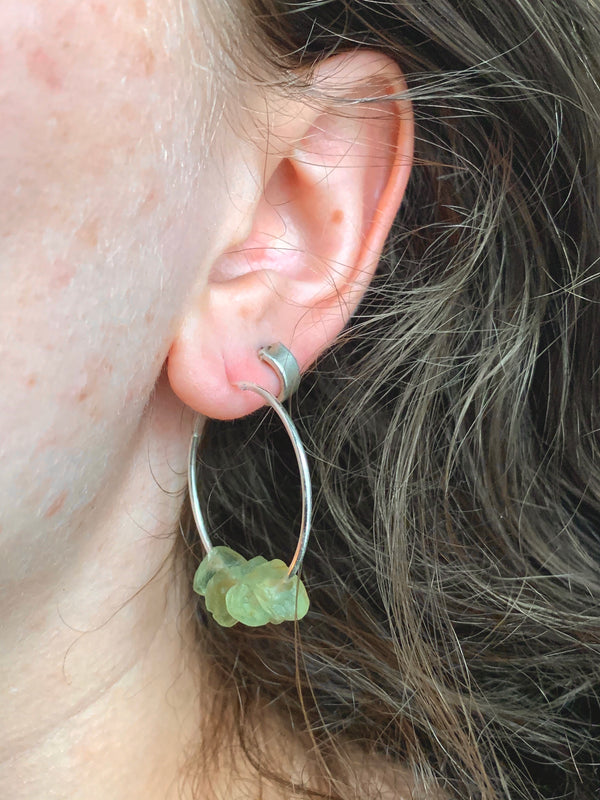 Raw Peridot Hoop Earrings