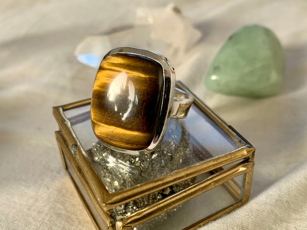 Tiger's Eye Adjustable Ring - Square (One of a kind) - Jewels & Gems