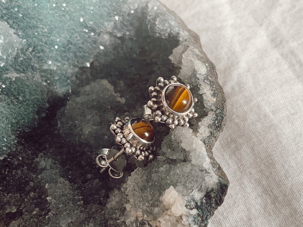 Tiger's Eye Sole Studs - Jewels & Gems