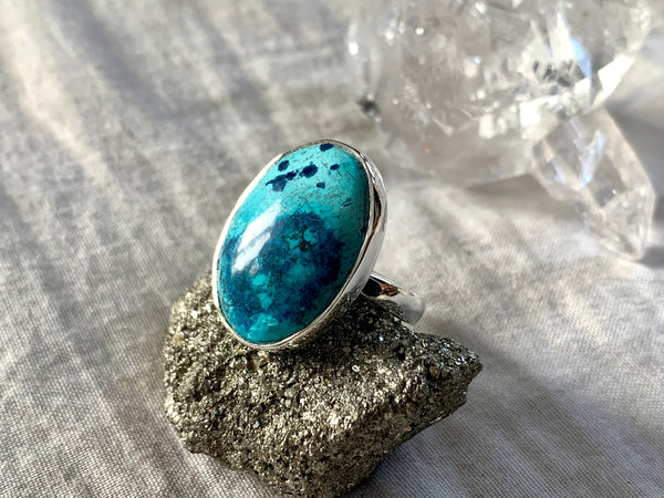 Shattuckite Adjustable Ring - Oval (One of a kind) - Jewels & Gems
