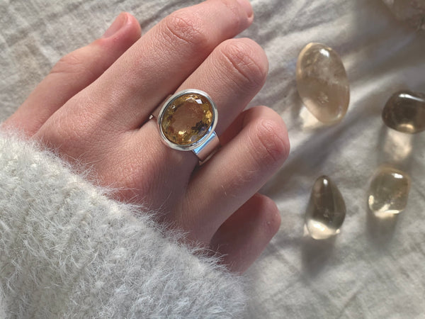 Citrine Bethan Ring - Small Oval (US 7 & 8) - Jewels & Gems