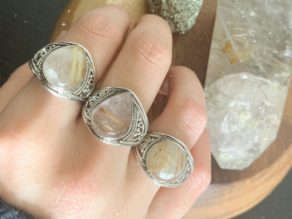 Rutilated Quartz Marilis Rings Mix (Large sizes) - Jewels & Gems