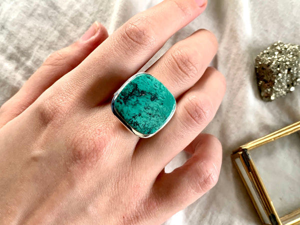 Tibetan Turquoise Adjustable Ring - Square - Jewels & Gems