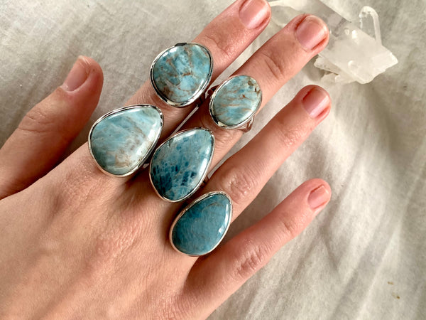 Light Blue Apatite Dinah Rings - Freeform - Jewels & Gems