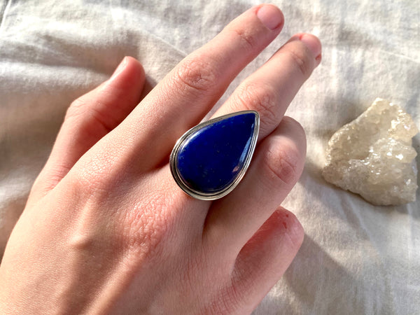 Lapis Lazuli Brea Ring - Large Teardrop - US 7.5 - Jewels & Gems
