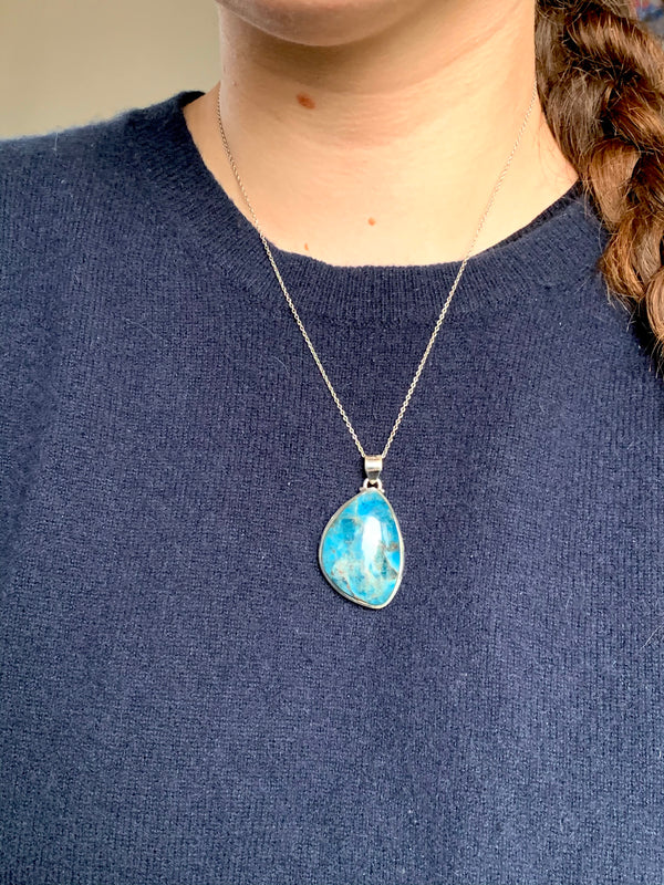 Blue Apatite Naevia Pendant - Freeform - Jewels & Gems