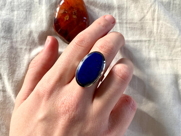 Lapis Lazuli Naevia Ring - Long Oval - Jewels & Gems