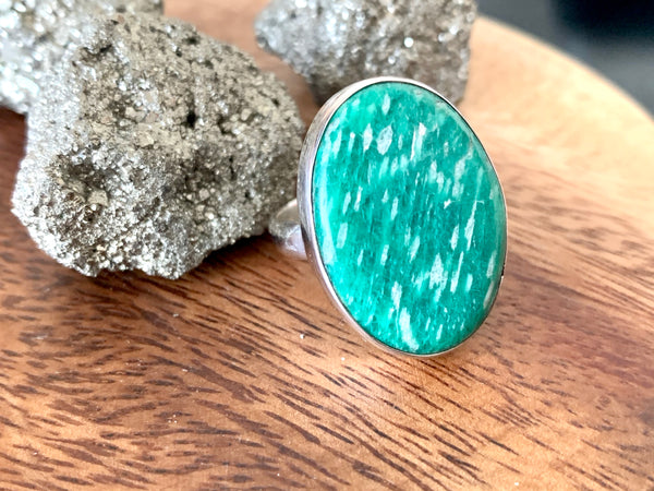 Amazonite Akoni Ring - Medium Oval (US 8) - Jewels & Gems