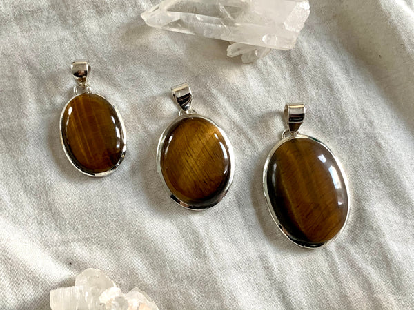 Tiger's Eye Naevia Pendant - Oval - Jewels & Gems