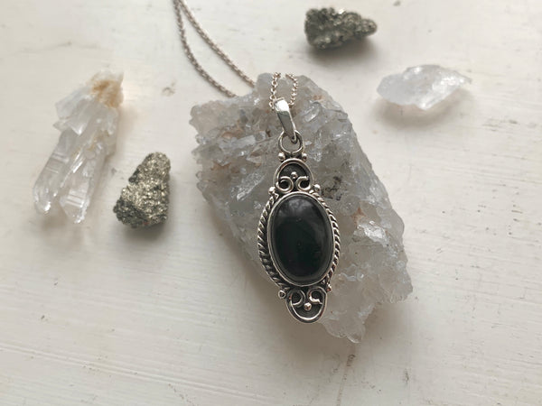 Black Onyx Agrippa Pendant - Jewels & Gems
