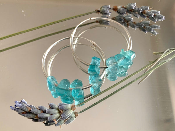 Raw Light Blue Apatite Hoop Earrings - Jewels & Gems