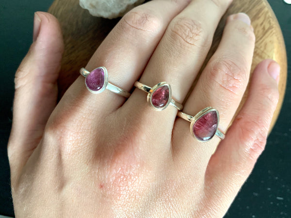 Pink Tourmaline Ari Rings Mix - Teardrop - Jewels & Gems