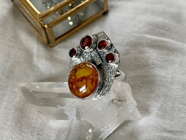 Red Garnet & Amber Rosamonde Ring (US 7 & 9) - Jewels & Gems