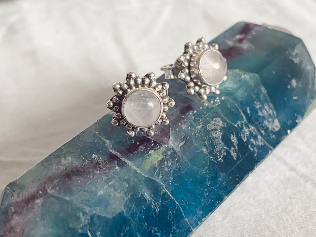Rose Quartz Sole Studs - Jewels & Gems
