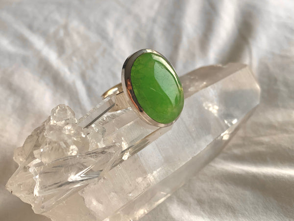 Nephrite Jade Adjustable Ring - Small Oval - Jewels & Gems