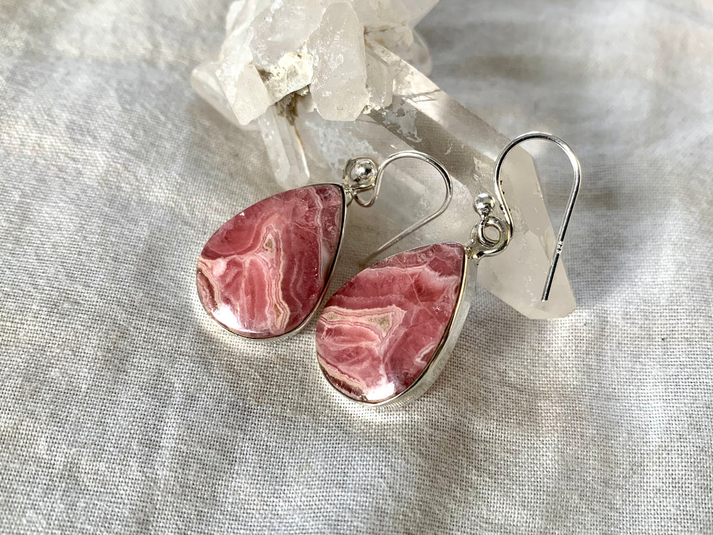 Rhodochrosite Akoni Earrings - Teardrop - Jewels & Gems