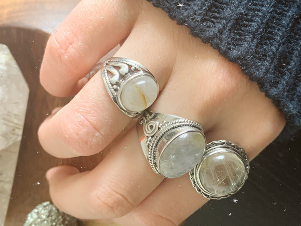 Rutilated Quartz Cassia Rings Mix - Jewels & Gems