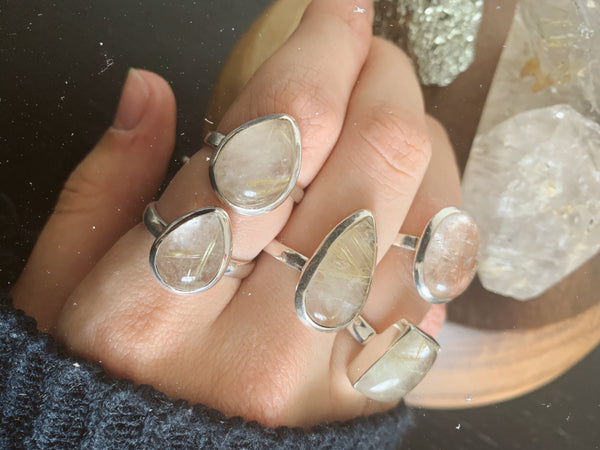 Rutilated Quartz Akoni Rings Mix - Small Plain - Jewels & Gems