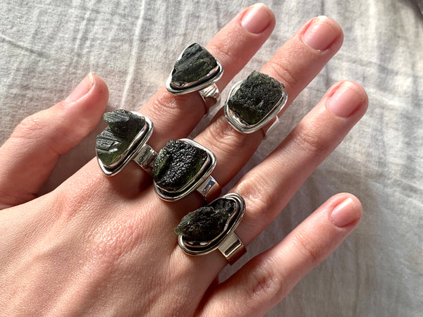 Moldavite Brea Rings - Freeform - Jewels & Gems