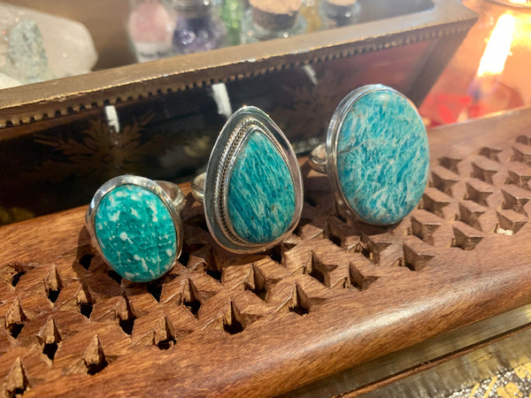 Amazonite Rings (One of a kind) - Jewels & Gems