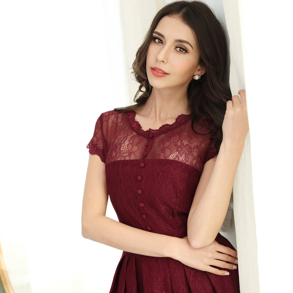 Retro Floral Lace Sexy Evening Party Dress