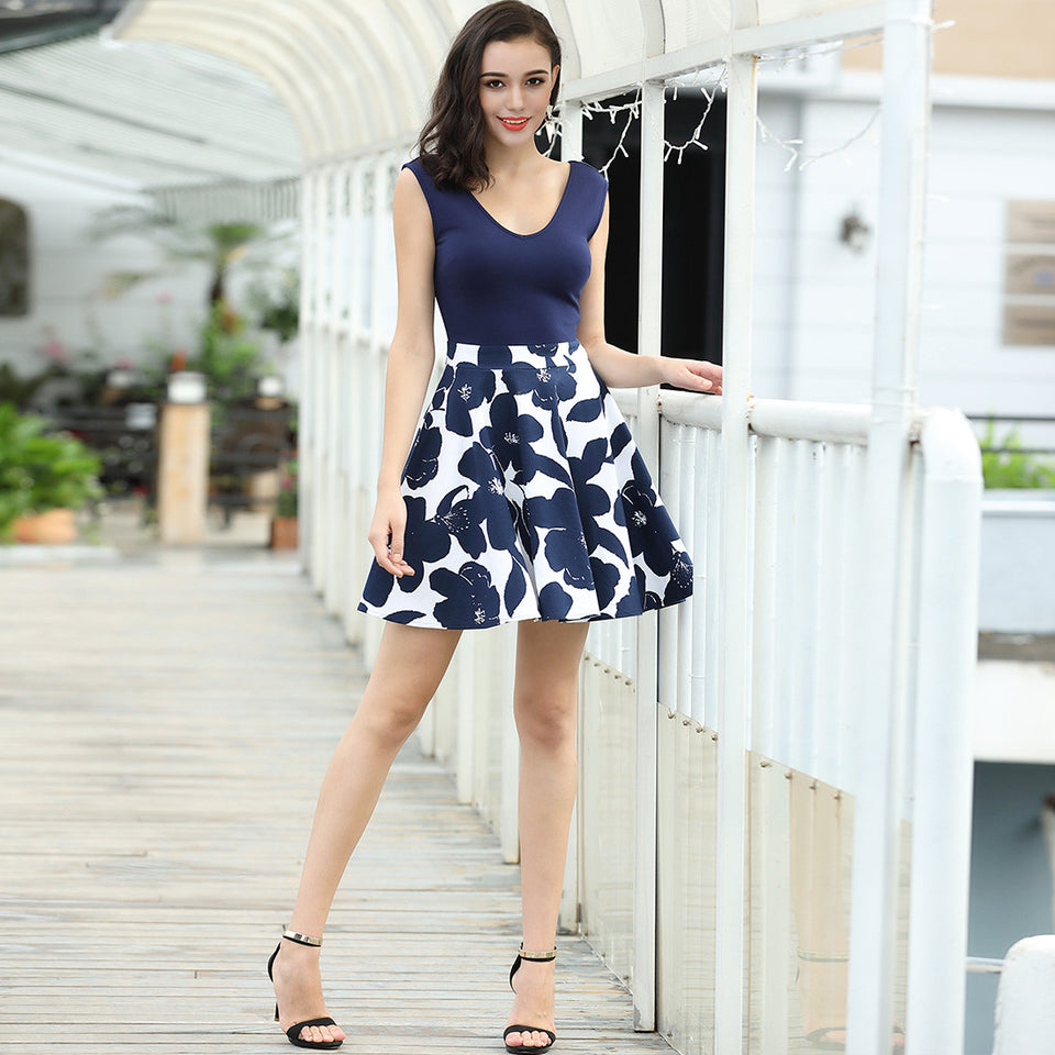 Casual Flare Floral Summer Party Mini Dress