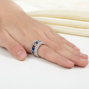 Multi-Color Simulated Diamond Topaz, Wedding Band Sterling Silver Ring