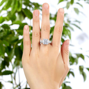 Luxury 925 Sterling Silver Wedding Engagement Ring Vintage 4 Ct Simulated Diamond