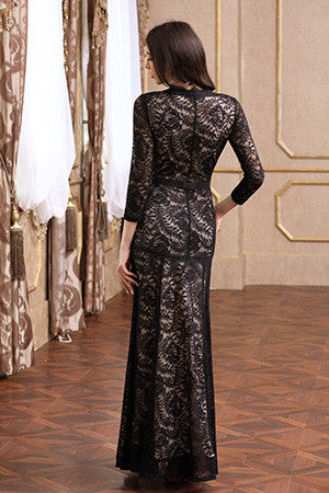 Floral Lace 2/3 Sleeves Long Bridesmaid Party Maxi Dress